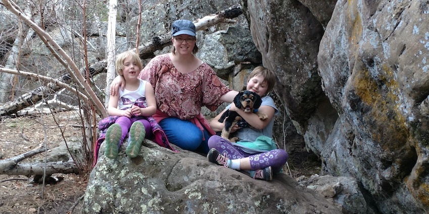 Aunts, cousins and Cosmo the dog enjoyed the recent spring-like day when Kerusso.com blogger Liz Sagaser took her family to the Rock Maze in South Dakota.