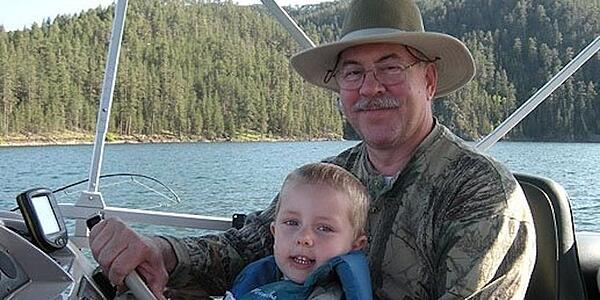 Papa Mike fishing with grandson Cameron