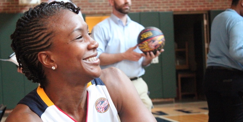 Tamika Catchings, pictured here during an Indiana Fever WNBA Media Day, was drafted as the third pick at age 22 – even after a serious knee injury in her senior year at University of Tennessee threatened to end her basketball career. She says God gave her a peace that passes all understanding almost from the moment she hurt her knee, despite the bad news doctors were giving her.