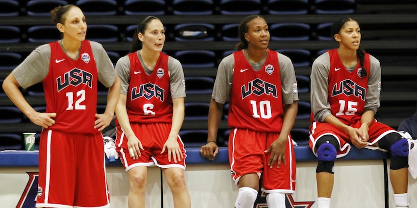 Tamika Catchings, wearing No. 10 here, helped lead Team USA to gold medals in four different Olympic Games.