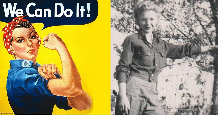 During World War II, Ann and her young husband moved from rural North Dakota to Seattle, Washington, where they both worked in factories to support the war effort. Ann was Rosie the Riveter in the flesh, circa 1942!