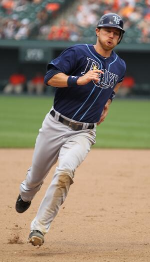 Ben Zobrist played with the Tampa Bay Rays from 2006-2014. Photo taken 2011 by Keith Allison from Owings Mills, USA [CC BY-SA 2.0, via Wikimedia Commons].